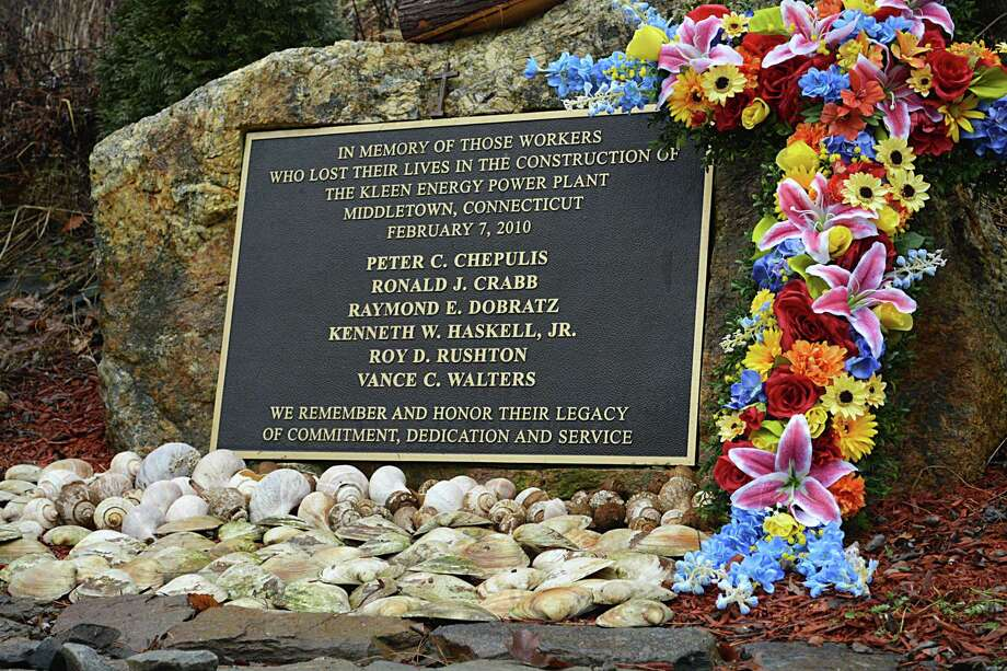 A memorial on River Road in Middletown recalls the six workers who were killed during 2010's Kleen Energy blast. Photo: Hearst Connecticut Media File Photo