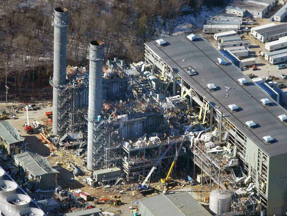 An aerial view of the Kleen Energy plant in Middletown the day after a massive explosion rocked the site Feb. 7, 2010. The explosion registered 5.0 on the Richter Scale, according to the USGS.org web site and was felt as far away as New York. Photo: Hearst Connecticut Media File Photo