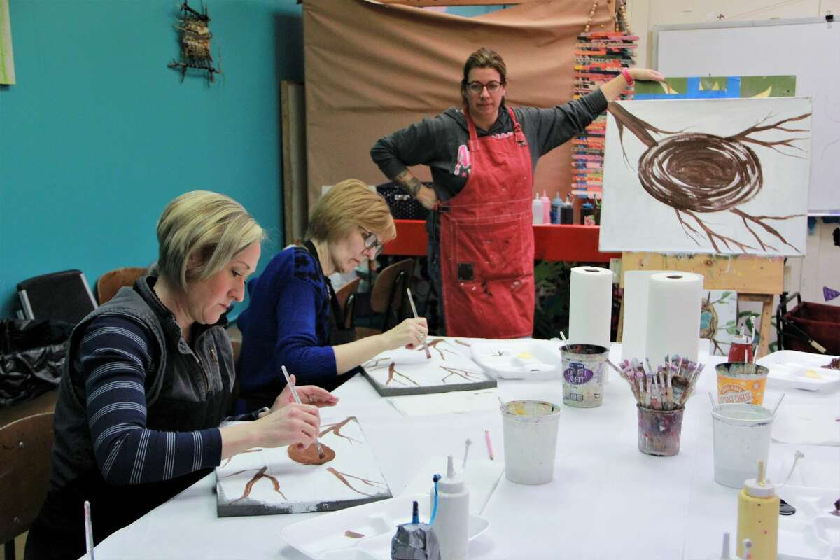 Artworks was full of laughter as women gathered to practice their creativity at