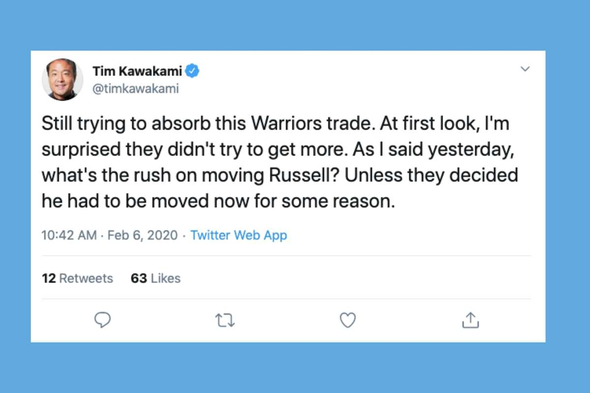 Reporters, pundits and fans react to the Warriors acquiring Andrew Wiggins from the Minnesota Timberowlves in return for D'Angelo Russell.