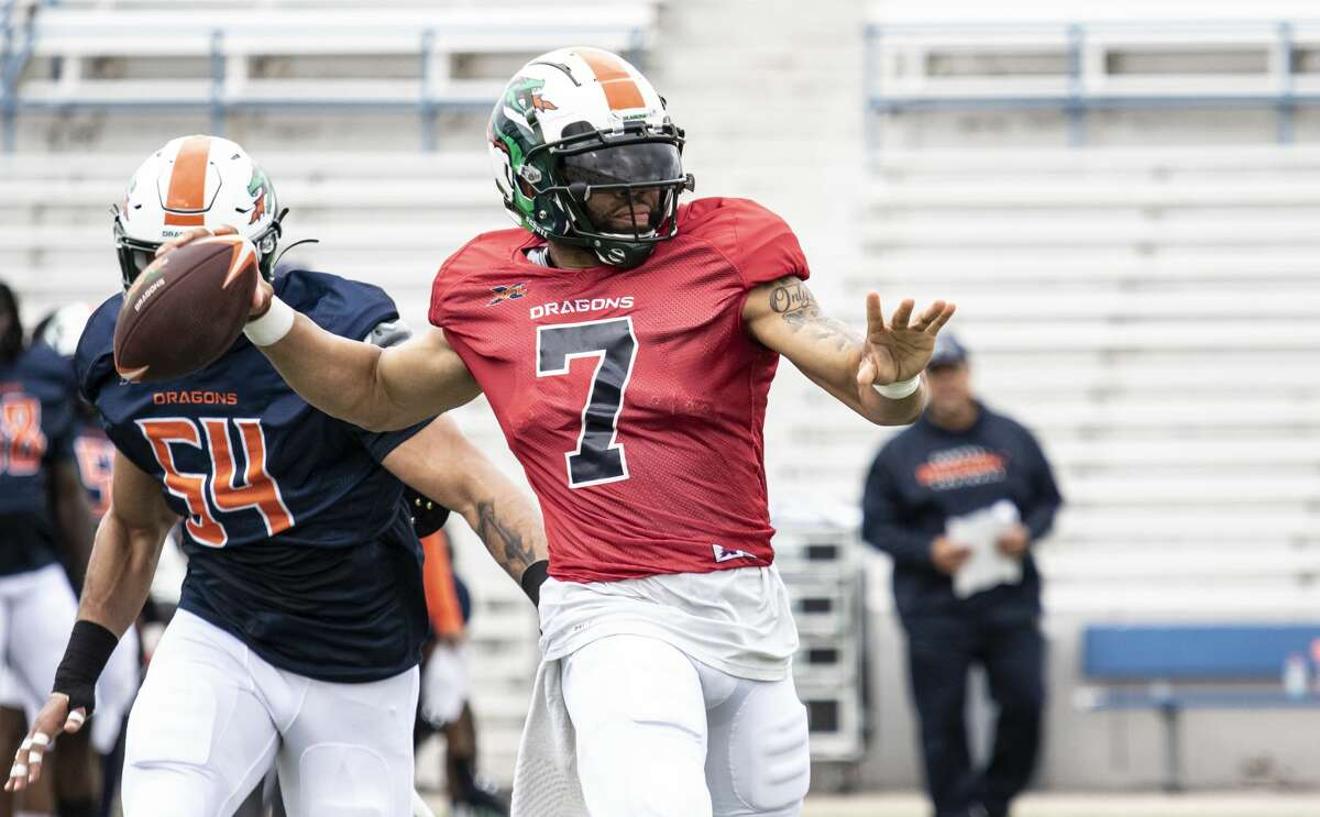 Seattle Dragons B.J.Daniels getting ready to throw the ball during practice.