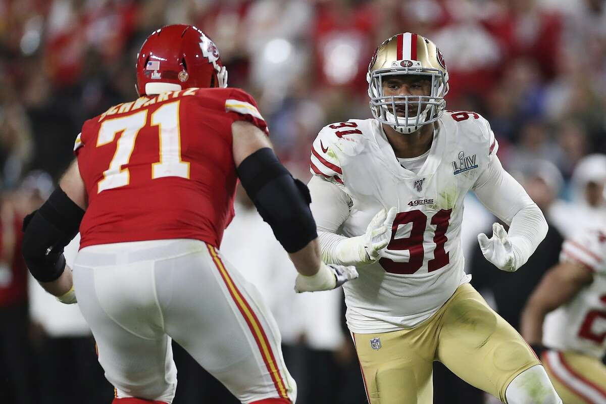 San Francisco 49ers defensive end Arik Armstead (91) looks to get past Kansas City Chiefs offensive tackle Mitchell Schwartz (71) during the second half of the NFL Super Bowl 54 football game between the San Francisco 49ers and Kansas City Chiefs Sunday, Feb. 2, 2020, in Miami Gardens, Fla. The Kansas City Chiefs won 31-20. (AP Photo/Steve Luciano)