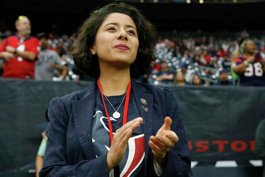 Harris County Judge Lina Hidalgo, shown watching the Houston Texans warm up before an AFC wild card playoff game against the Buffalo Bills at NRG Stadium on Saturday, Jan. 4, in Houston, will host a community conversation on early childhood development on Saturday, Feb. 15, at the Health Museum at 1515 Hermann Drive in Houston. Photo: Brett Coomer, Houston Chronicle / Staff Photographer / © 2020 Houston Chronicle