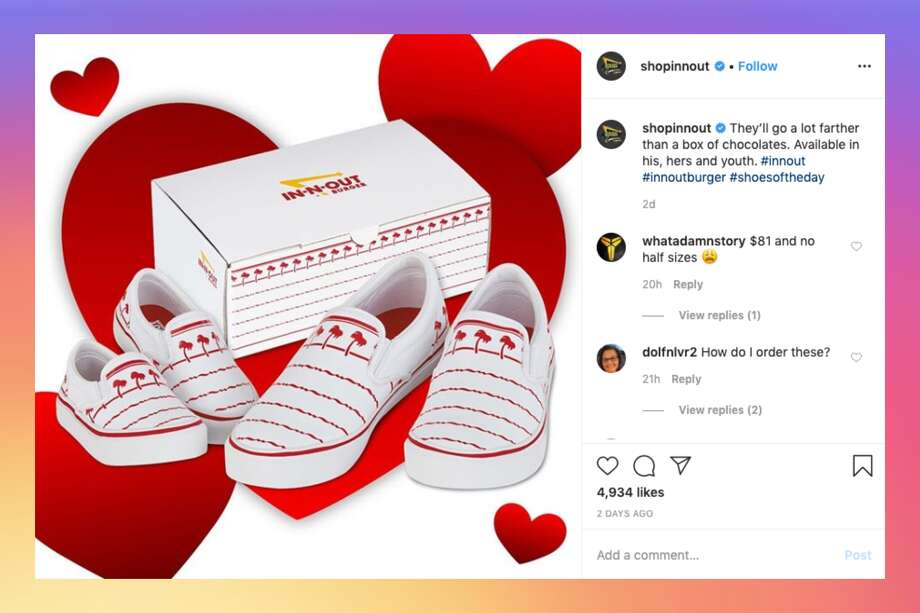 In-N-Out just released a pair of sneakers as part of the burger chain's official merchandise. Photo: @shopinnout/ Instagram