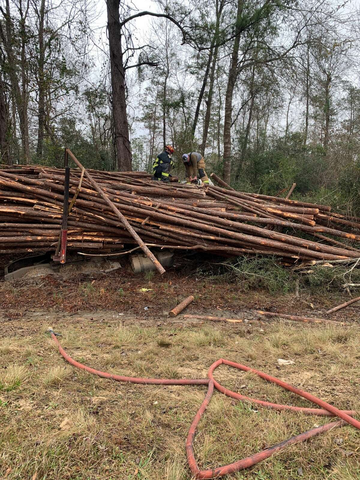The driver of a log truck died Feb. 6, 2020 following a wreck in Orange County. Photo provided by Eric Williams