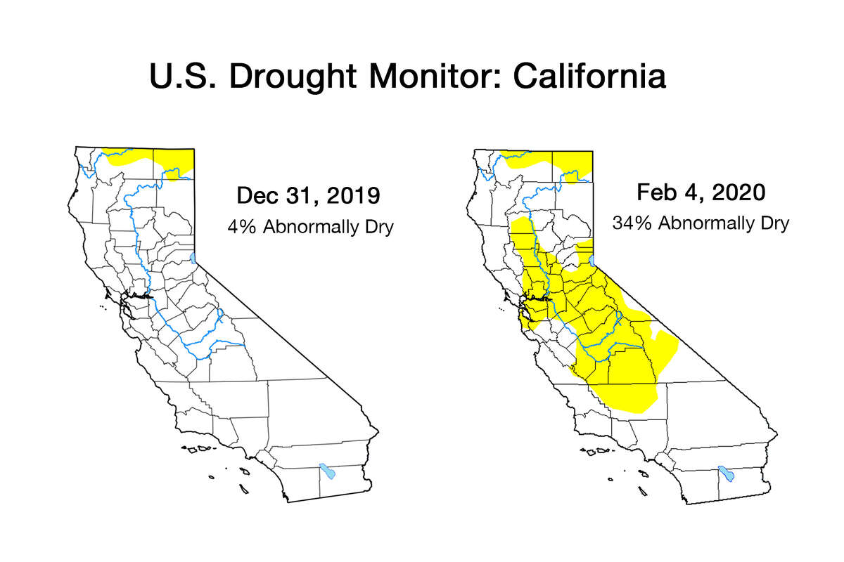 """The latest Feb. 4 federal Drought Monitor Map, one way to measure drought that's mainly used in agriculture, shows 34% of the state as """"abnormally dry."""" On the Dec. 31, 2020, map, 4% percent of the state was yellow."""
