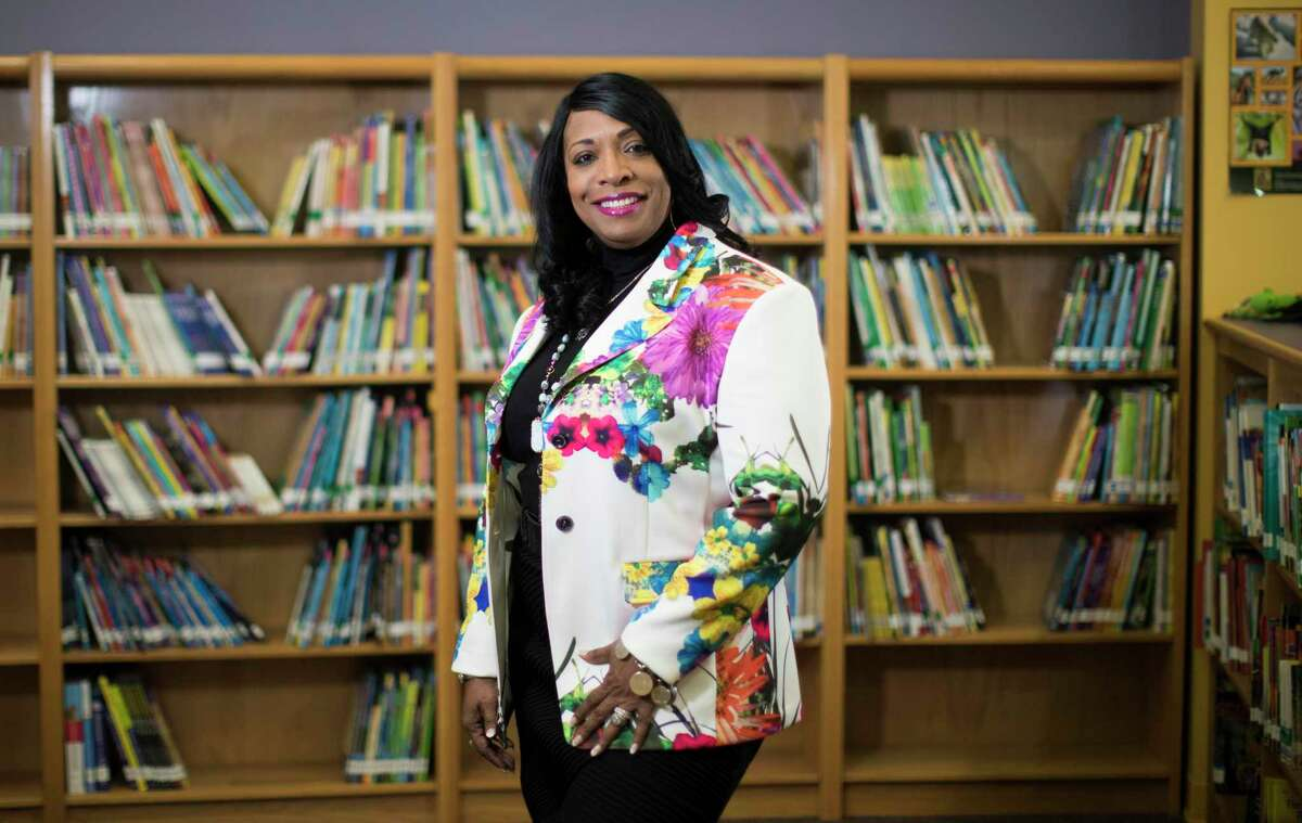 Madison High School Principal Carlotta Brown, pictured this 2018 file photo, is one of three Houston ISD administrators temporarily relieved of her duties amid an investigation into allegations of inappropriate behavior at an on-campus staff fashion show. The investigation comes less than a year after Brown received national attention for instituting a parent dress code at the southside campus. ( Marie D. De Jesus / Houston Chronicle )