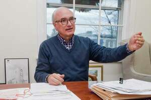 Ridgefield First Selectman Rudy Marconi, in his office at Town Hall, discusses improvements to the Branchville area. Wednesday, Dec. 28, 2016