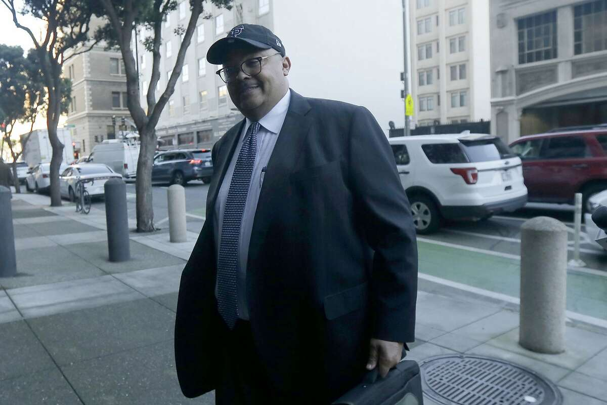 Mohammed Nuru, director of San Francisco Public Works, arrives at a federal courthouse in San Francisco, Thursday, Feb. 6, 2020. (AP Photo/Jeff Chiu)