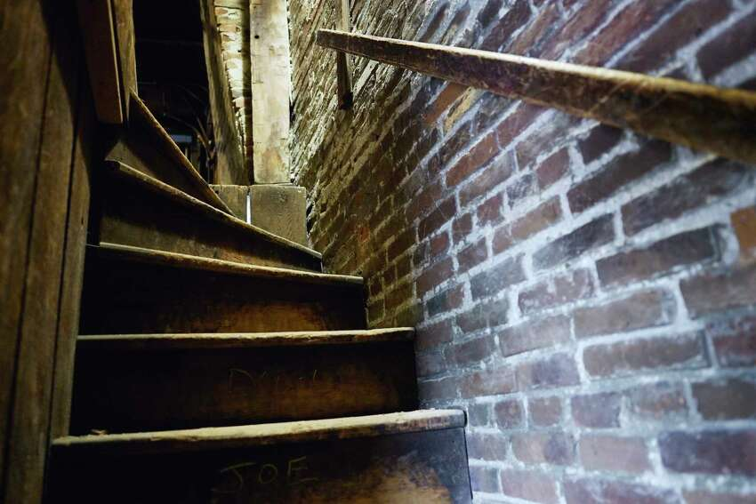 A view of stairs leading up to the attic inside the building housing the offices of the Preservation League of New York State, located at 44 Central Ave. on Monday, Feb. 3, 2020, in Albany, N.Y. (Paul Buckowski/Times Union)