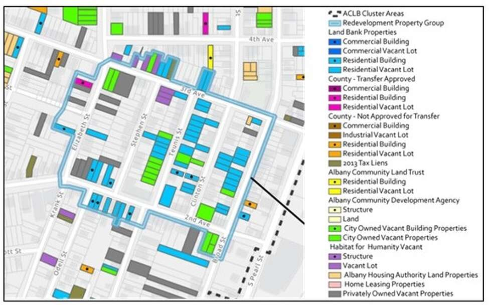The highlighted four-block area shows the parcels that the Albany County Land Bank is looking to partner with a developer on for a large scale development in the city's South End.
