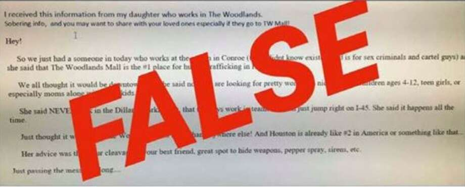 The Montgomery County Sheriff's Office is warning about a hoax alert online about serial kidnappings taking place at The Woodlands Mall. Photo: Courtesy Of The Montgomery County Sheriff's Office