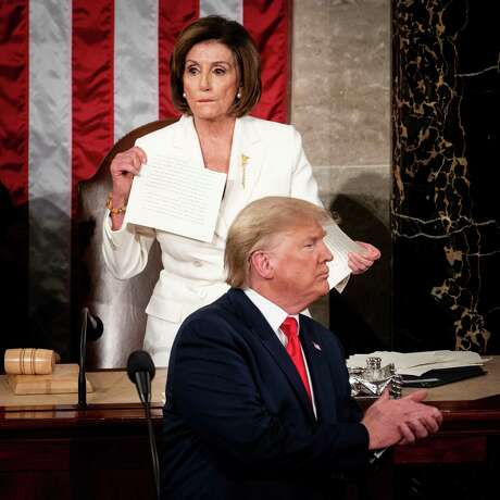 House Speaker Nancy Pelosi (D-Calif.) rips a copy of President Donald Trump's speech at the conclusion of his State of the Union address on Capitol Hill on Tuesday, Feb. 4, 2020. Trump attacked Pelosi on Twitter on Wednesday morning for tearing the copy. (Erin Schaff/The New York Times)