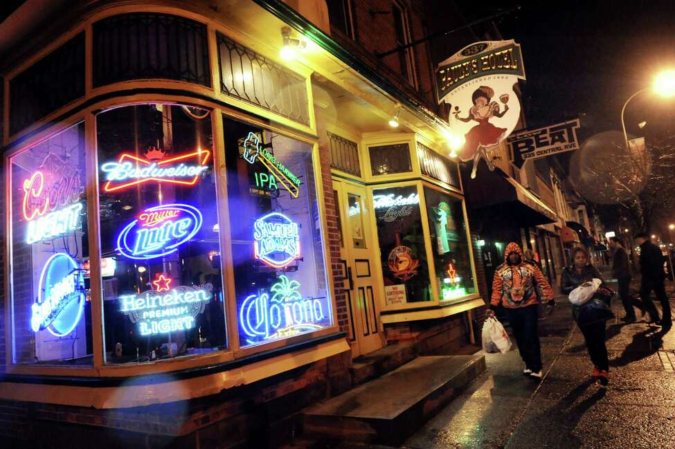 Pauly's Hotel, left, and The Low Beat on Friday, April 4, 2014, on Central Avenue in Albany, N.Y. (Cindy Schultz / Times Union)