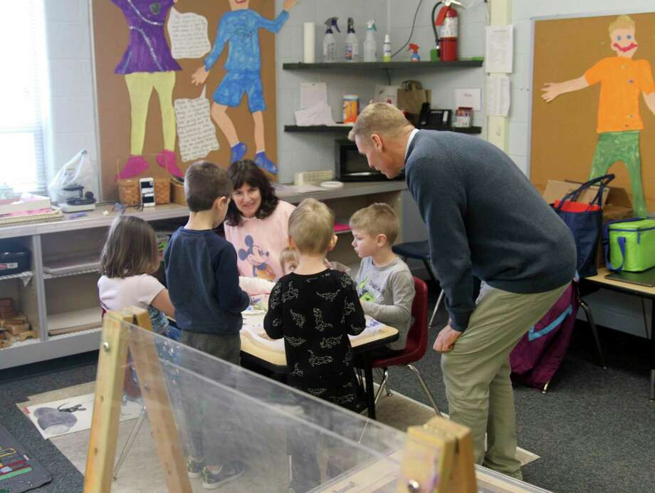 Superintendent Martin Prout helps provide instruction at North Huron on Thursday, Feb. 6. (Eric Rutter/Huron Daily Tribune)