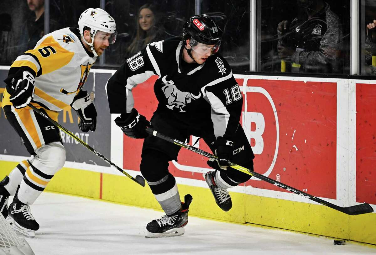 The Wilkes-Barre/Scranton Penguins play the San Antonio Rampage during the second period of an AHL hockey game, Tuesday, Jan. 21, 2020, in San Antonio. (Darren Abate/AHL)