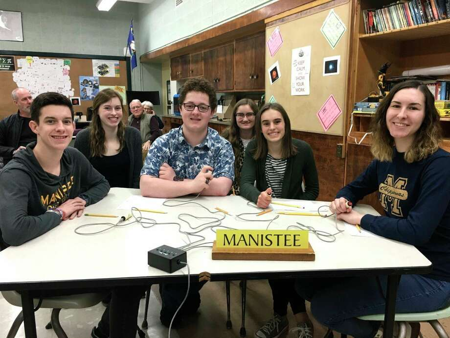 The Manistee High School Quiz Bowl team is off to a 3-1 start with their only loss being a close match with the powerful Ludington Orioles. Team members this year include Luke Kooy, Solana Postma, Liam Quinn, Cassie Pendry, Eleanor Scarlata, Olivia Holtgren and Jack Holtgren. (Courtesy photo)