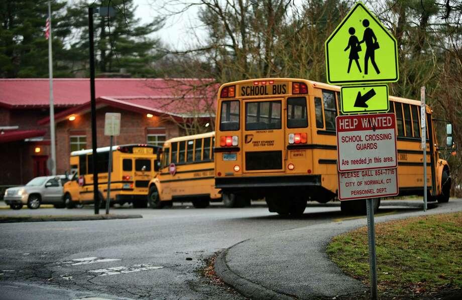 School lets out at Silvermine Elementary School Thursday, February 6, 2020, in Norwalk, Conn. Photo: Erik Trautmann / Hearst Connecticut Media / Norwalk Hour