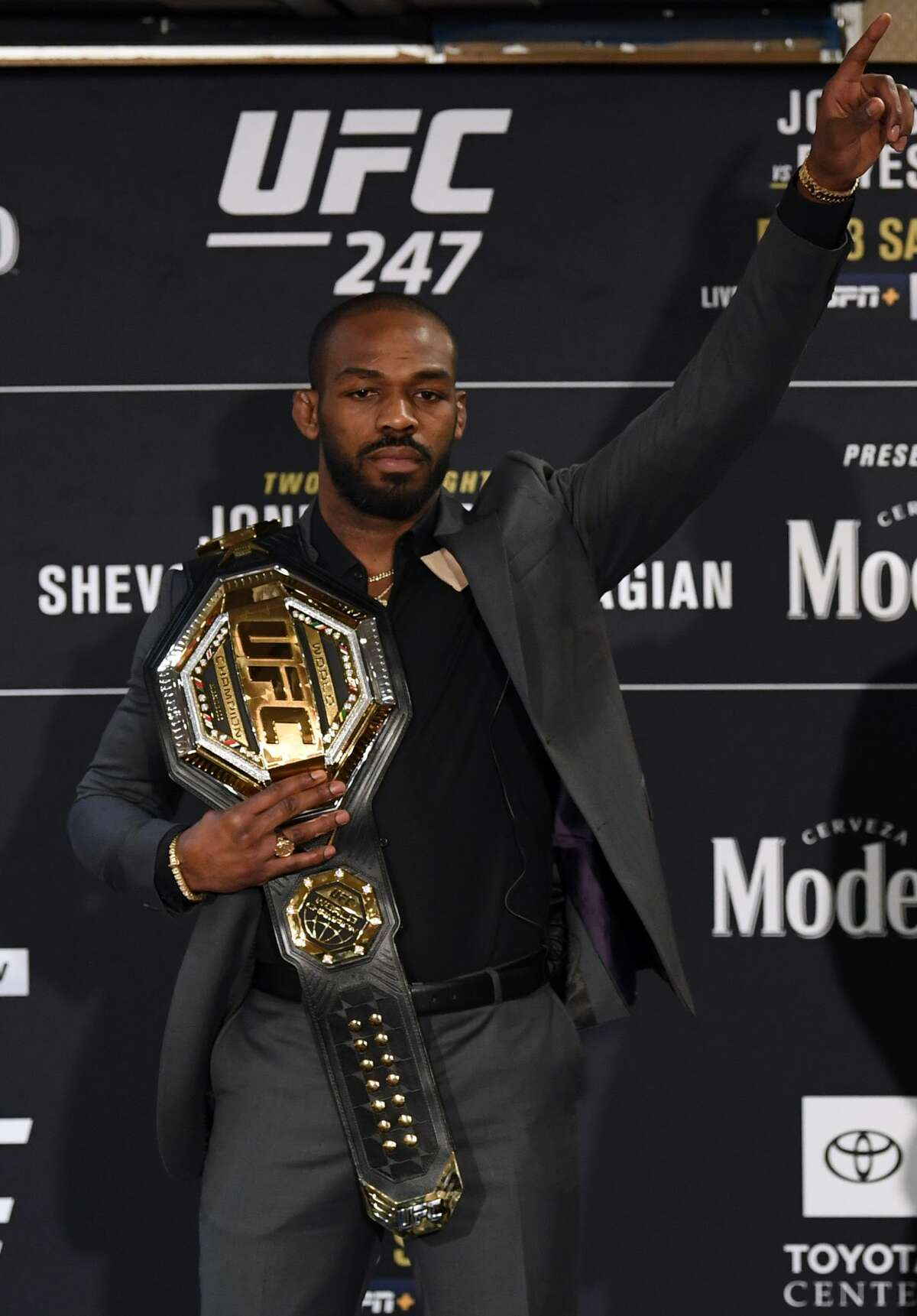 HOUSTON, TEXAS - FEBRUARY 06: Jon Jones poses for photos during the UFC 247 Ultimate Media Day at the Crowne Plaza Houston River Oaks on February 06, 2020 in Houston, Texas. (Photo by Josh Hedges/Zuffa LLC)