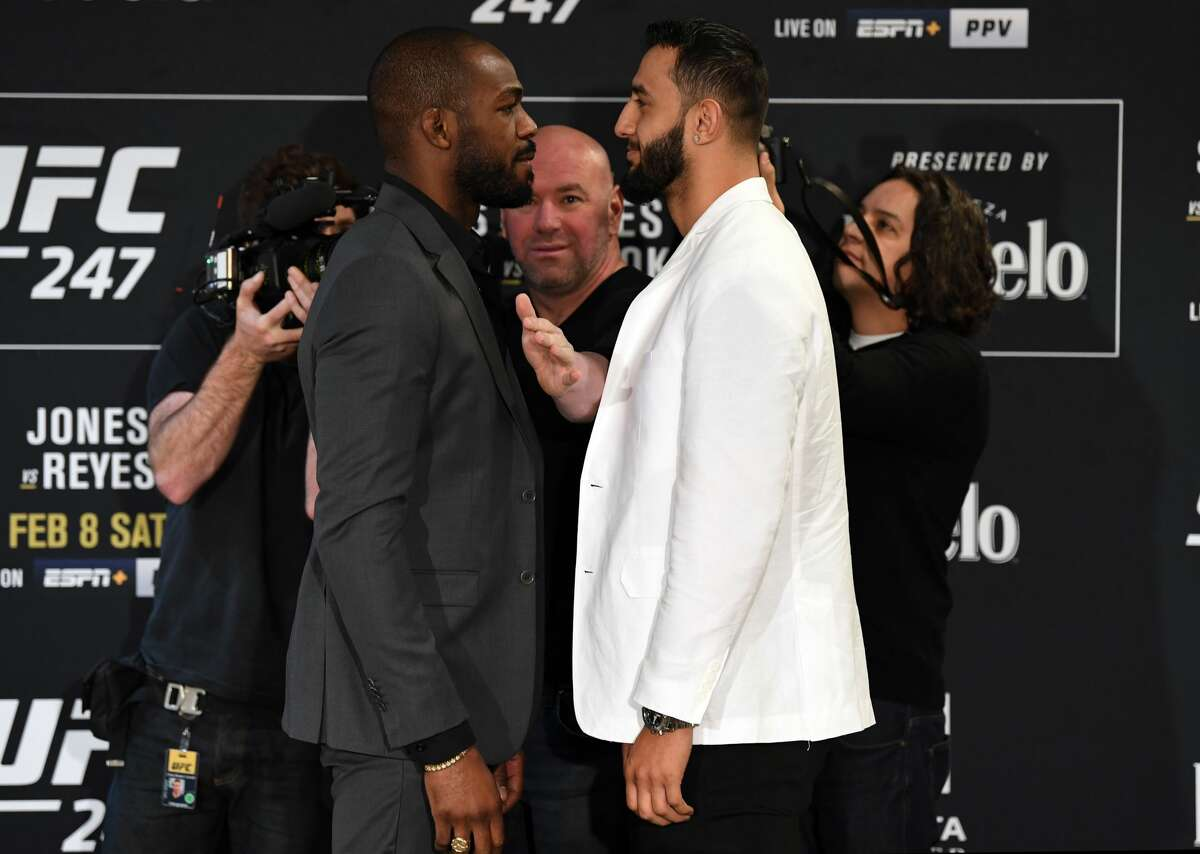 HOUSTON, TEXAS - FEBRUARY 06: (L-R) Opponents Jon Jones and Dominick Reyes face off during the UFC 247 Ultimate Media Day at the Crowne Plaza Houston River Oaks on February 06, 2020 in Houston, Texas. (Photo by Josh Hedges/Zuffa LLC)