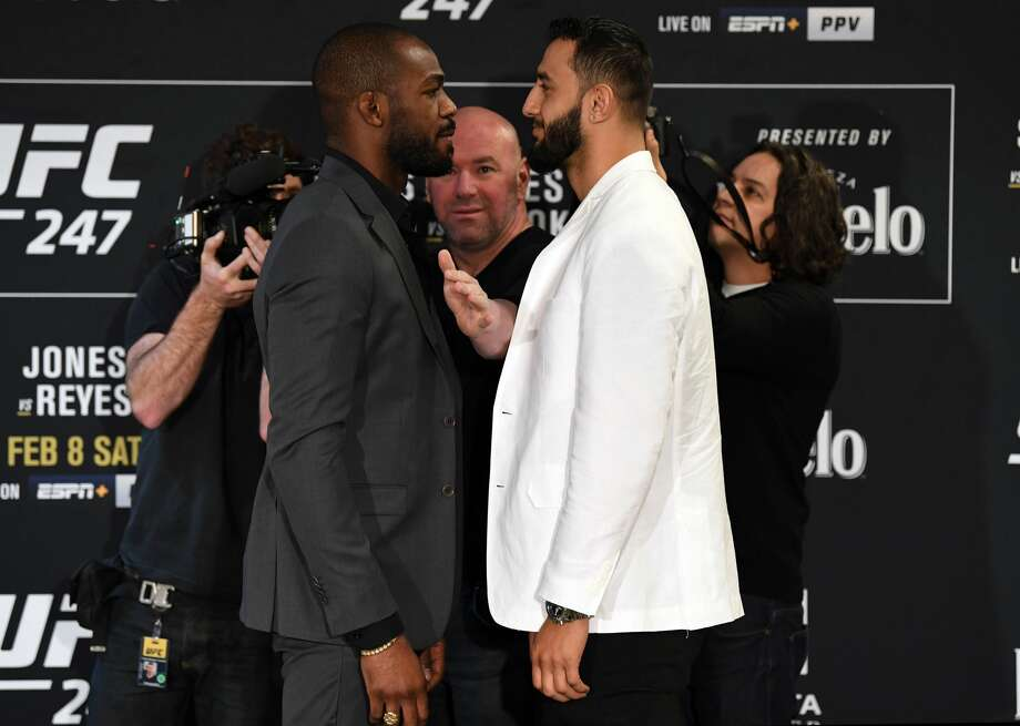 HOUSTON, TEXAS - FEBRUARY 06: (L-R) Opponents Jon Jones and Dominick Reyes face off during the UFC 247 Ultimate Media Day at the Crowne Plaza Houston River Oaks on February 06, 2020 in Houston, Texas. (Photo by Josh Hedges/Zuffa LLC) Photo: Josh Hedges/Zuffa LLC