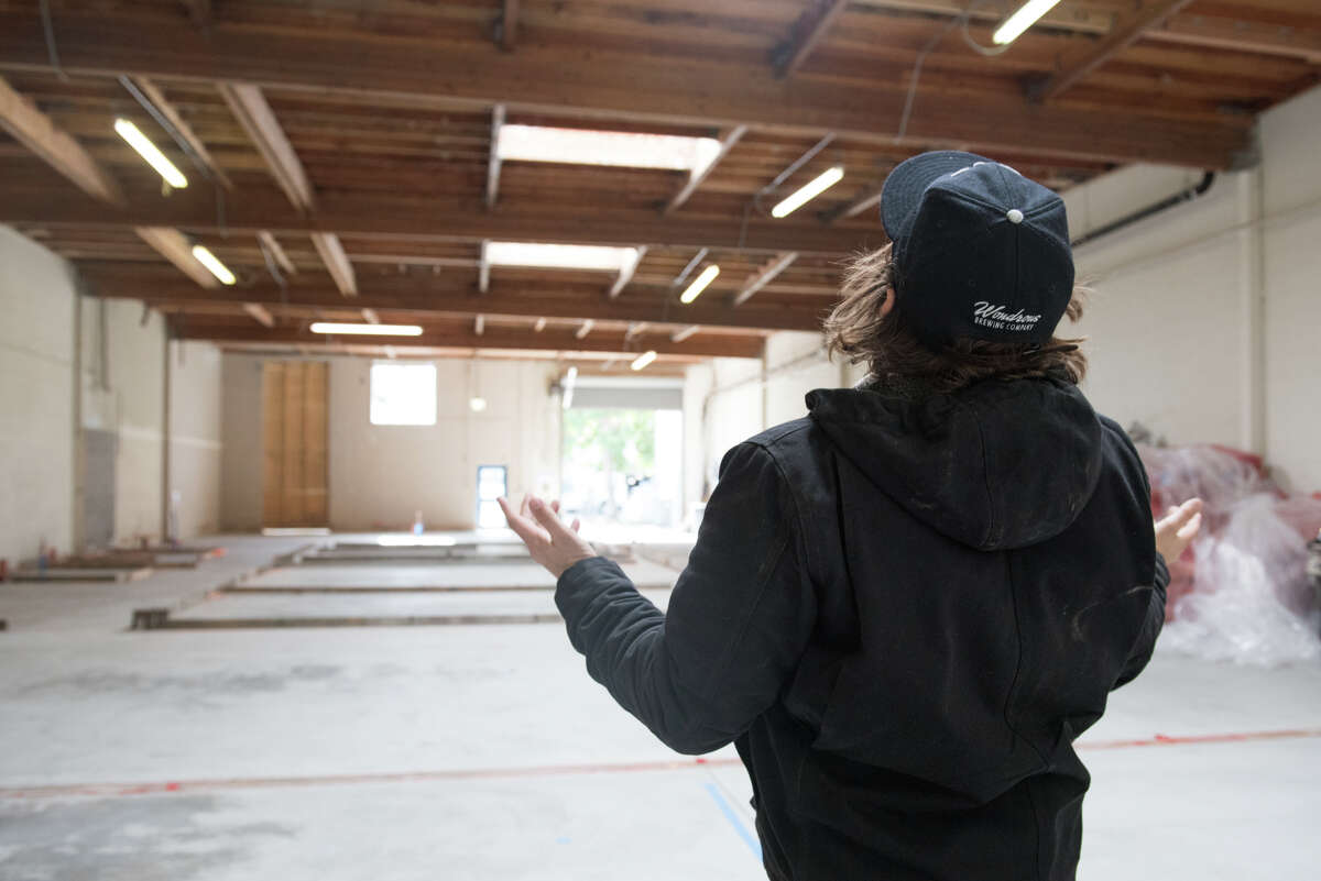 Wynn Whisenhunt, founder and brewer at Wondrous Brewing in Emeryville, Calif. gives us a tour of the new space (set to open in the late summer, 2020).