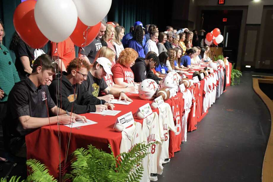 Tomball student-athletes signed their letters of intent during National Signing Day, Feb. 5, at Tomball High School. Photo: Tomball ISD