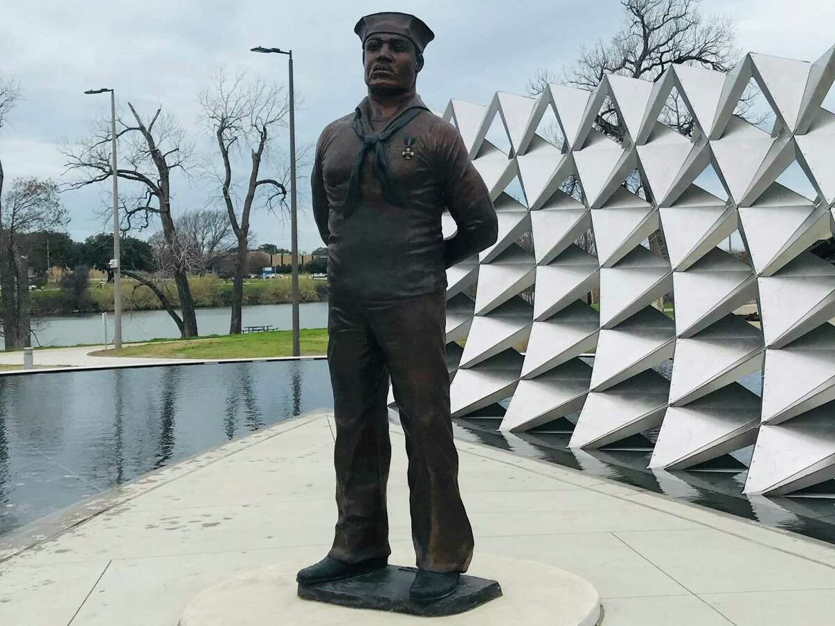 The Doris Miller Memorial by Lubbock sculptor Eddie Dixon is on the banks of the Brazos River in downtown Waco.