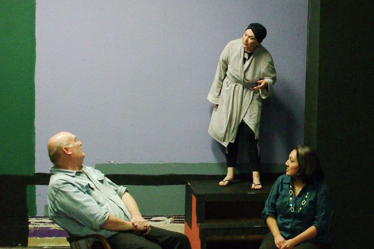 Deborah Winters Chaney, center, shown with Steve Rockey and Adriana Rodriguez, will reprise the role of Violet Weston she performed at Purple Box Theater in 2016 in a production at the theater that will be presented Feb. 15-23. Chaney says her perception of the role has changed over the years.