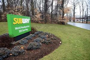 A sign for the Subway World Headquarters in Milford photographed on February 6, 2020.