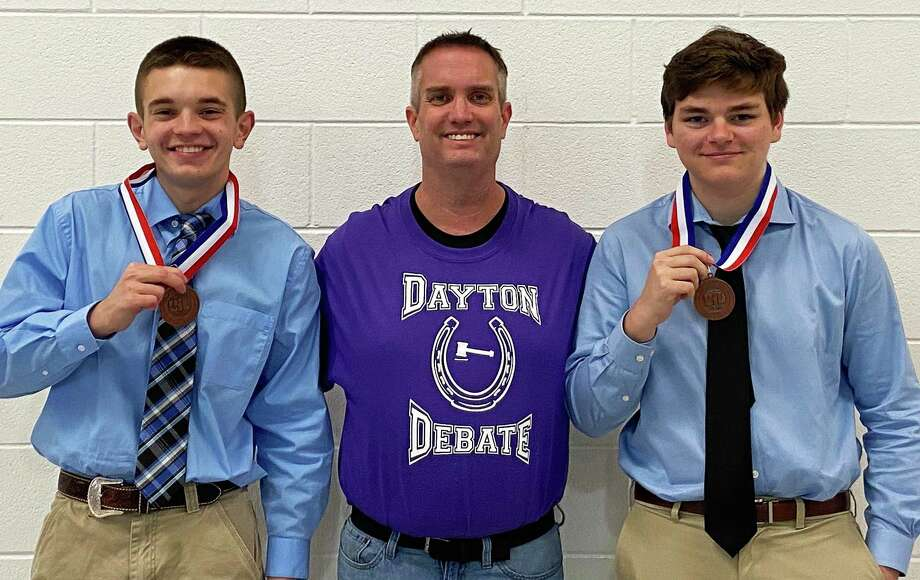 The UIL CX District Team of Alex Brooks and Ryan Roseman took third place at the District 21-5A Meet on Saturday February 1. From left, Alex Brooks, DHS Debate Coach James Kingsmill, and Ryan Roseman. Photo: Submitted