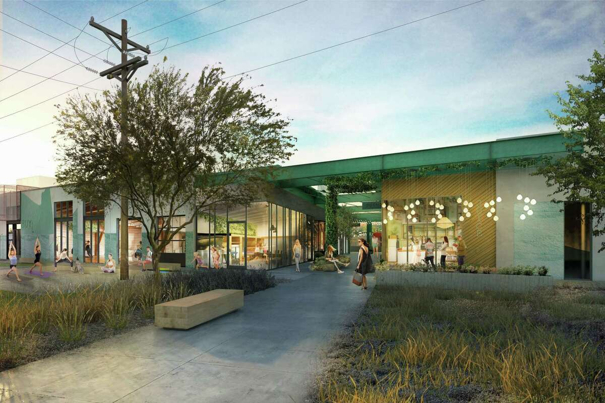 A rendering of M-K-T Heights shows Building 4 as seen from the bike trail looking south. Pedego Electric Bikes and Honeychild's Sweet Creams have signed up as tenants.