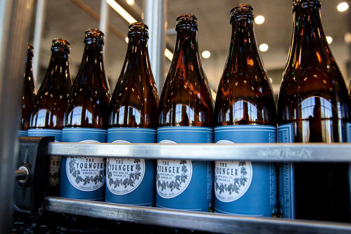 Pliny the Younger beer is bottled at the Russian River Brewing Company, Wednesday, Feb. 5, 2020, in Windsor, Calif.