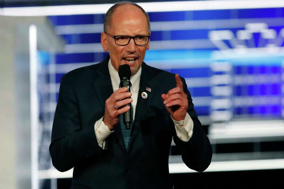 FILE - In this Nov. 20, 2019 file photo, Chair of the Democratic National Committee, Tom Perez, speaks before a Democratic presidential primary debate in Atlanta. Perez is calling for a a€œrecanvassa€ of the results of Monday's Iowa caucus. (AP Photo/John Bazemore)