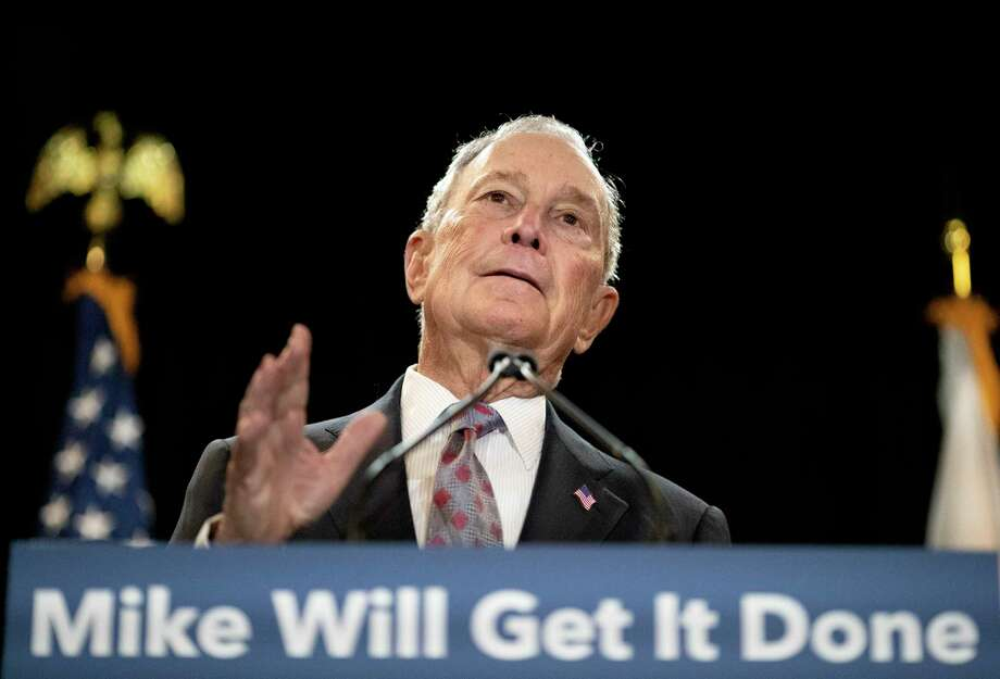 Democratic presidential candidate and former New York City Mayor Michael Bloomberg speaks at a campaign event Wednesday, Feb. 5, 2020, in Providence, R.I. (AP Photo/David Goldman) Photo: David Goldman, STF / Associated Press / 2020 Associated Press