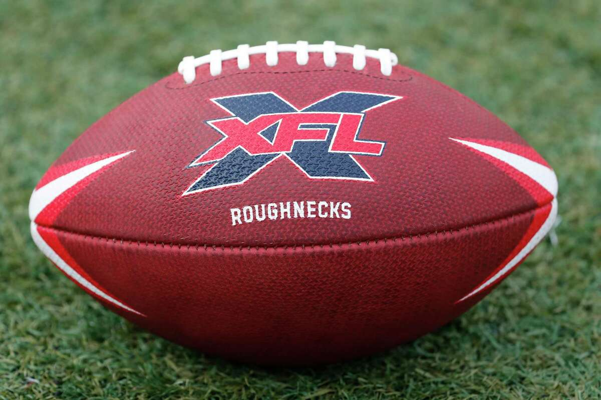 An XFL football is shown during the XFL team's opening practice at TDECU Stadium on Thursday, Dec. 5, 2019, in Houston.