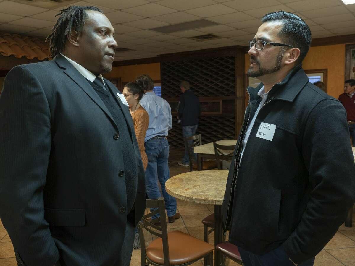 City Councilman John Norman talks with Luis Sanchez 02/06/2020 evening before a public meeting with Mayor Patrick Payton. Tim Fischer/Reporter-Telegram