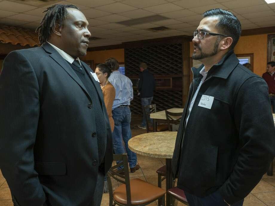 City Councilman John Norman talks with Luis Sanchez 02/06/2020 evening before a public meeting with Mayor Patrick Payton. Tim Fischer/Reporter-Telegram Photo: Tim Fischer/Midland Reporter-Telegram