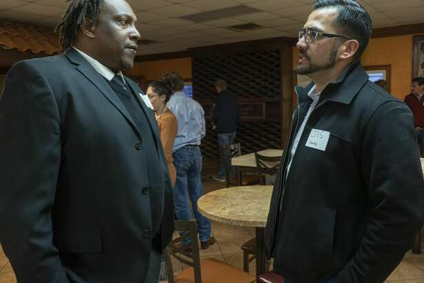 City Councilman John Norman talks with Luis Sanchez 02/06/2020 evening before a public meeting with Mayor Patrick Payton. Tim Fischer/Reporter-Telegram