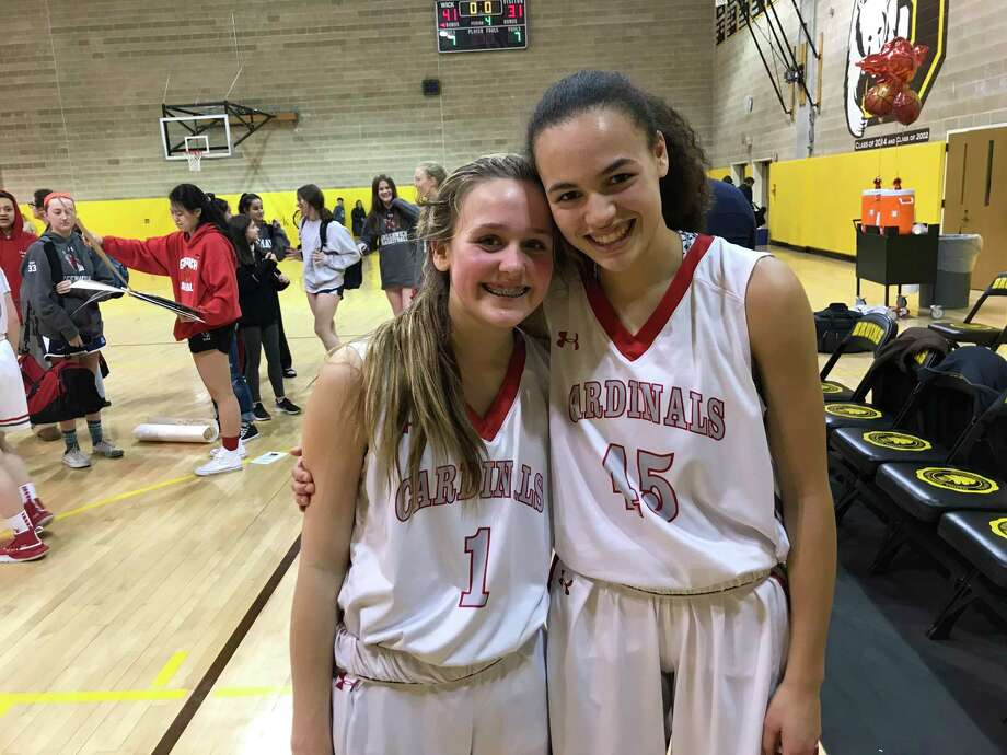 Ava Sollenne, left, and Mackenzie Nelson are freshmen on the Greenwich girls basketball team. Photo: David Fierro /Hearst Connecticut Media