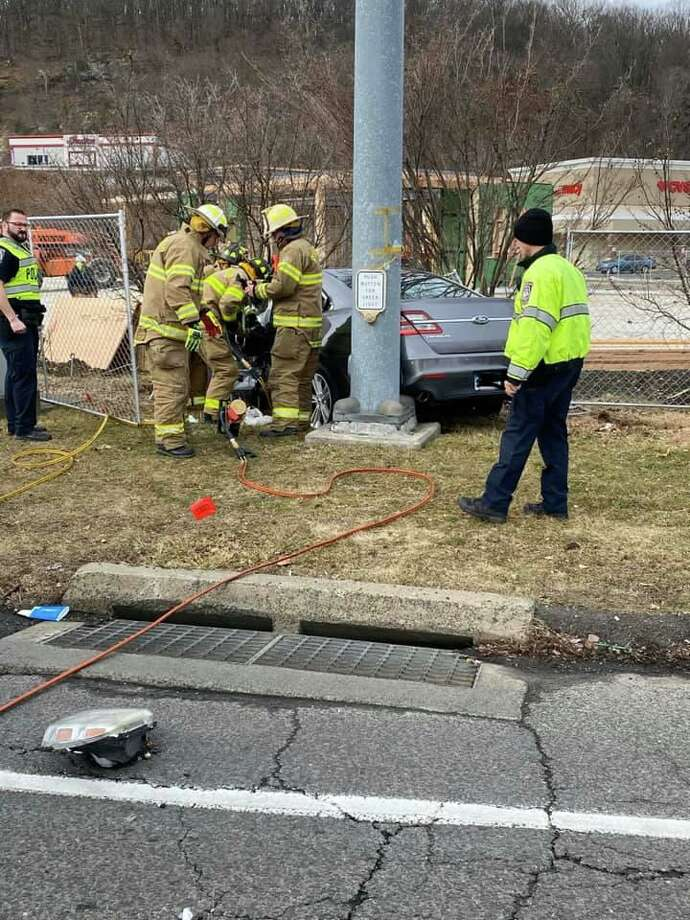 Crews at the scene of a four-vehicle crash in Brookfield, Conn., on Wednesday, Feb. 5, 2020. Edits to the license plate were not made by Hearst Connecticut Media. Photo: Contributed Photo / Brookfield Volunteer Fire Department