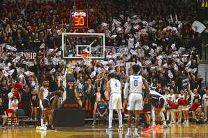 Texas Tech's student section tries to distract Kentucky's Nick Richards at the free throw line during their Jan. 25, 2020 Big 12-SEC Challenge men's basketball game in the United Supermarkets Arena.