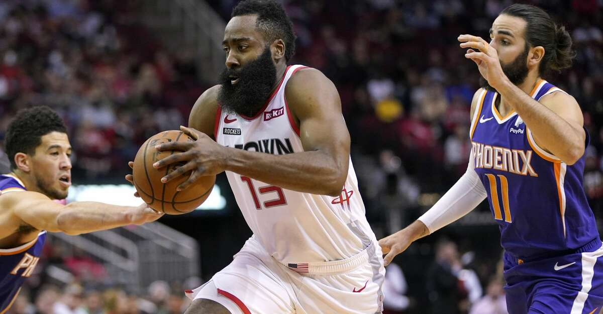 PHOTOS: Rockets game-by-game Houston Rockets' James Harden (13) drives toward the basket as Phoenix Suns' Ricky Rubio (11), Devin Booker (1) and Frank Kaminsky III, left, defend during the first half of an NBA basketball game Saturday, Dec. 7, 2019, in Houston. (AP Photo/David J. Phillip) Browse through the photos to see how the Rockets have fared in each game this season.
