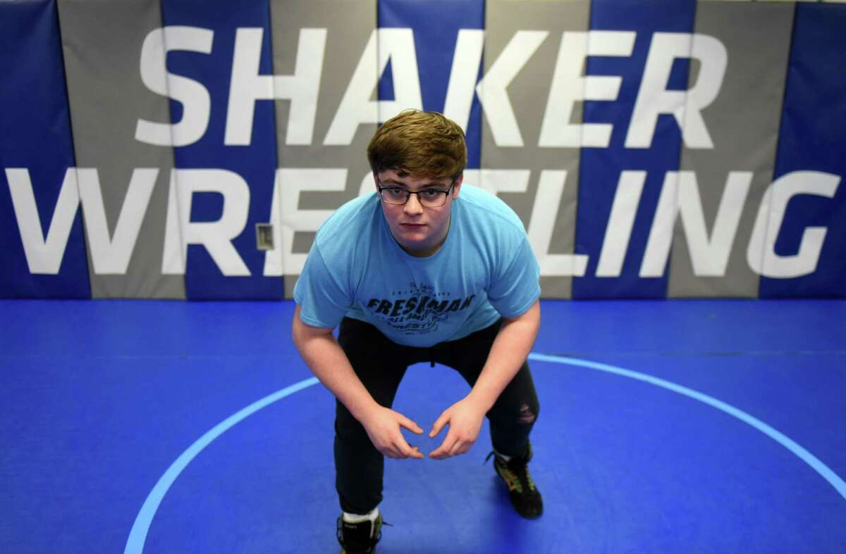 Shaker High School wrestler Ryan Stein is pictured on Thursday, Feb. 6, 2020, at Shaker High School in Colonie, N.Y. Stein is a top-ranked 220-pound competitor in Section II. (Will Waldron/Times Union)