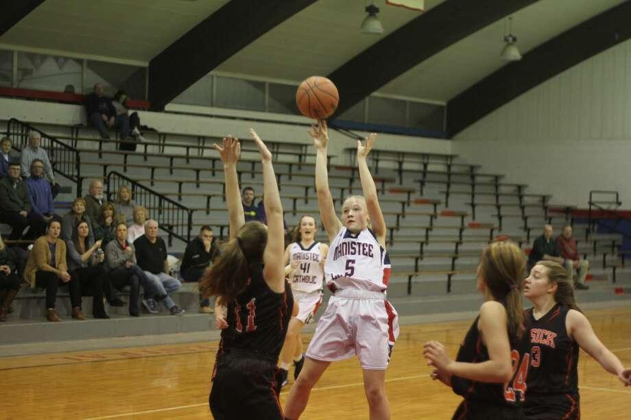 The Manistee Catholic Central girls basketball team topped Mesick on Thursday, Feb. 6, 2020. Photo: Kyle Kotecki/News Advocate