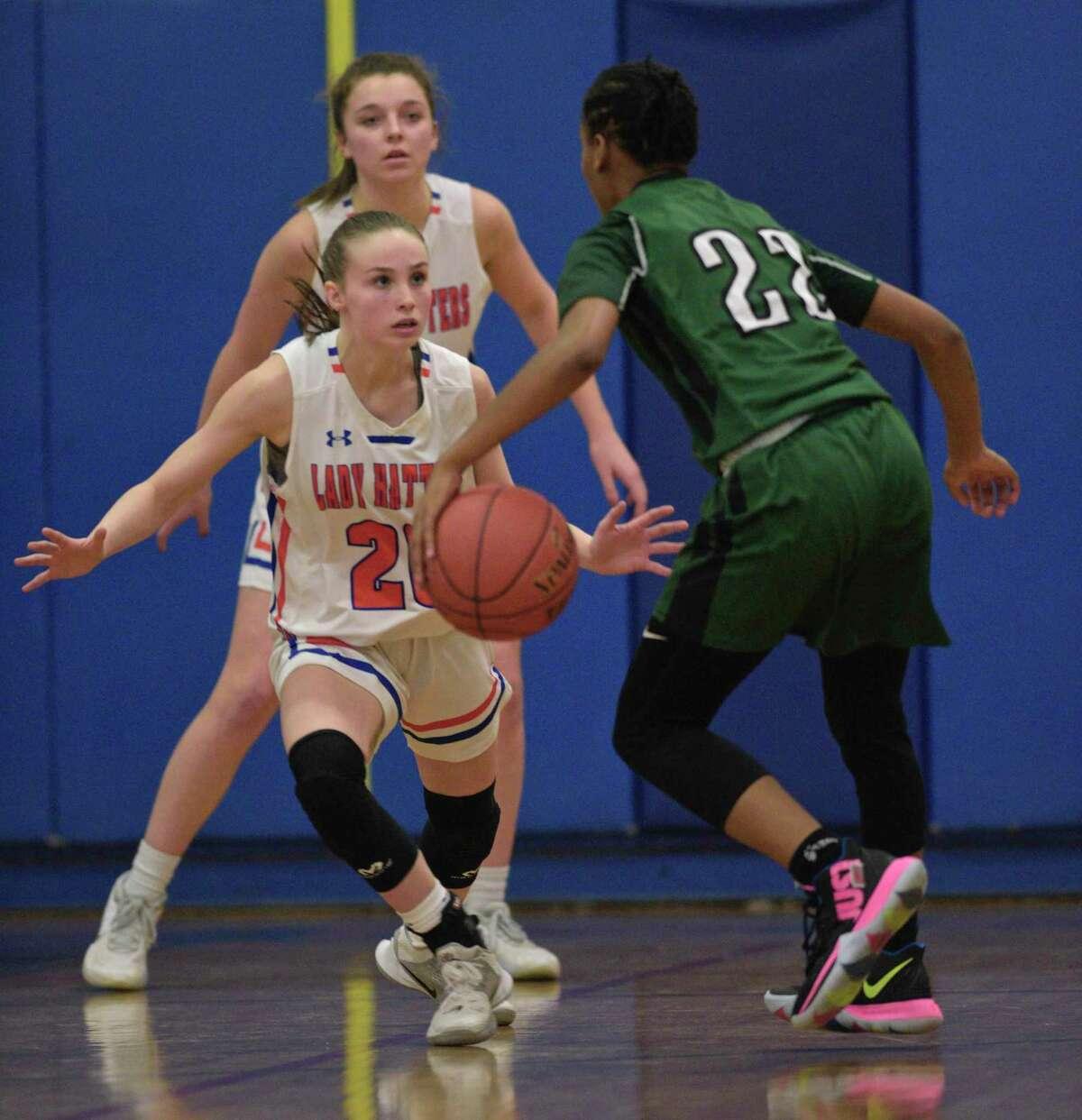 Girls basketball game between Norwalk and Danbury high schools, Thursday night, February 6, 2020, at Danbury High School, in Danbury, Conn.