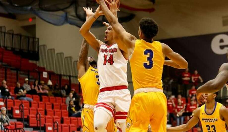 SIUE forward Zeke Moore puts up a contested shot against Morehead State on Thursday. Photo: SIUE Athletics