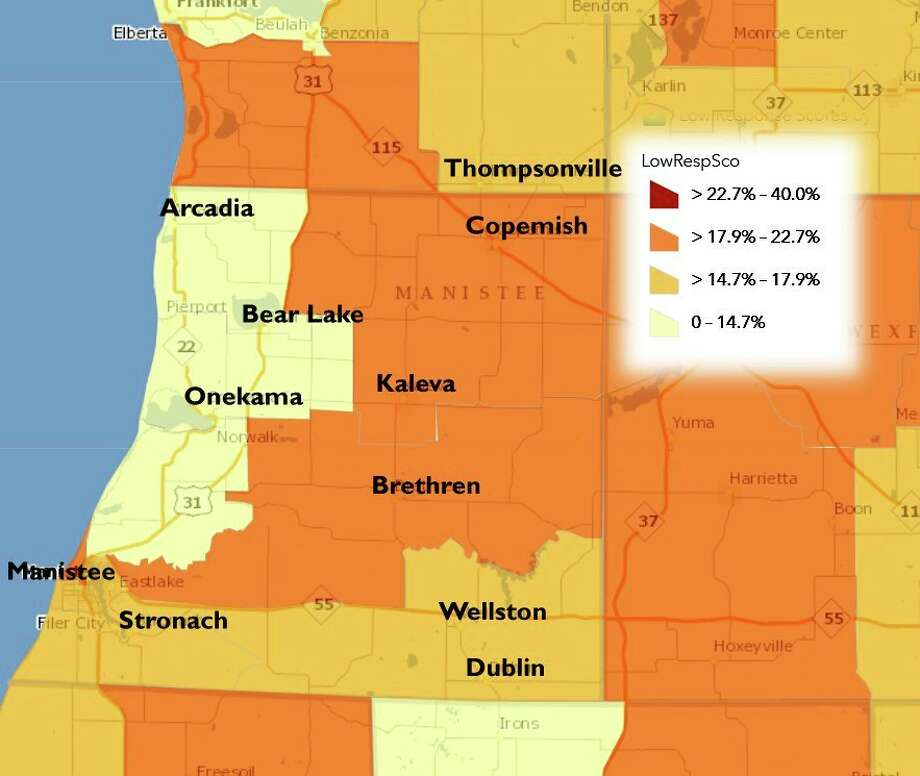 Manistee County demographics were drastically underreported during the 2010 census. Officials and institutions are hoping to obtain a more accurate picture of the region's population in 2020. (Courtesy map/Manistee County COA)