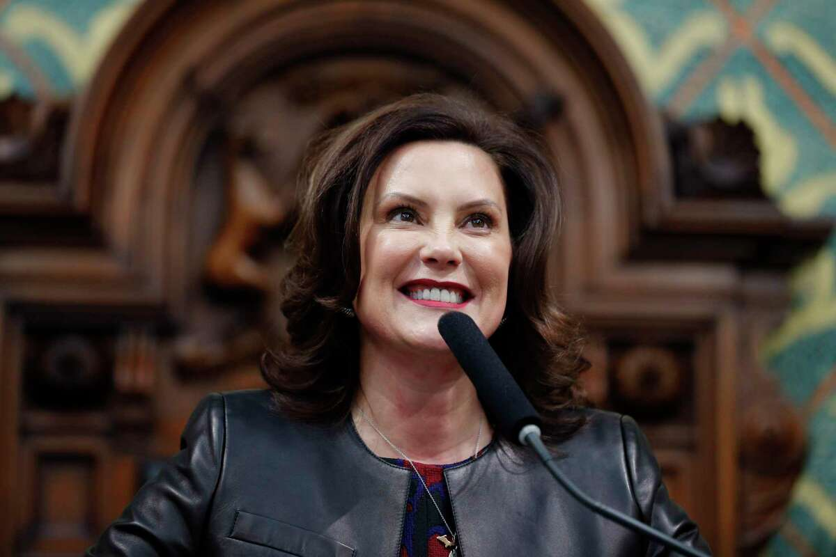Michigan Gov. Gretchen Whitmer delivers her State of the State address Jan. 29 at the Michigan State Capitol in Lansing. (AP Photo/Al Goldis)