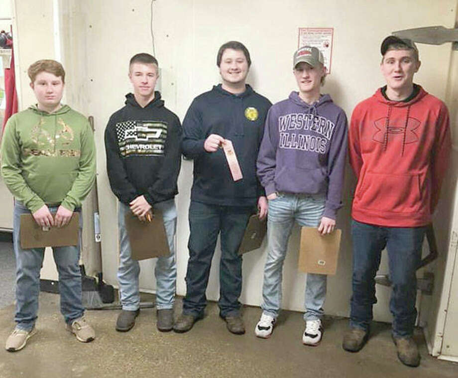Members of the Franklin FFA chapter traveled Tuesday to Jones Meat Locker in Jacksonville to compete in sectional meat judging. The team, which consisted of Evan Hansell (from left), Levi Brown, Kyle Colwell, Ethan Hansell and Kyle Roodhouse, placed fourth. Photo: Photo Provided